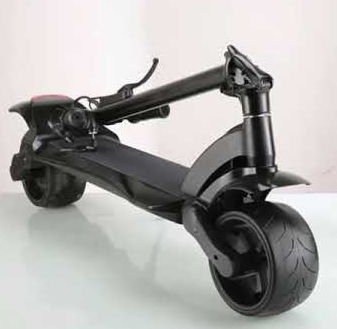 front diagonal view of a folded black Mercane Widewheel Pro electric scooter