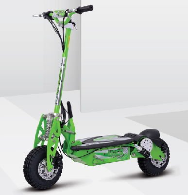 side diagonal view of a green Uberscoot 1000W electric scooter with black details