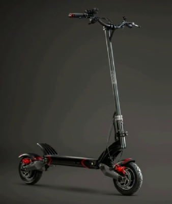 side diagonal view of a black EVOLV Pro electric scooter with red details on a dark grey background