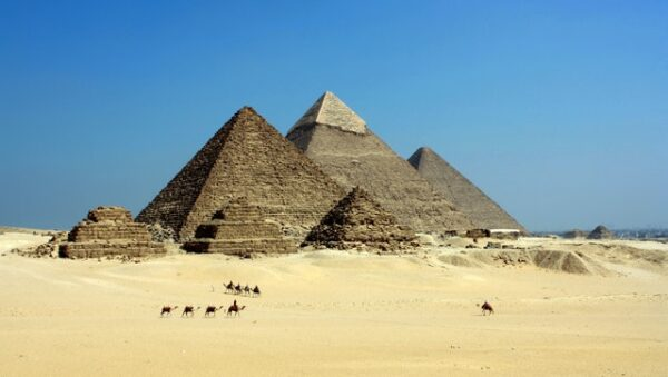 view of the pyramids in Egypt