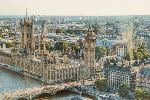 aerial view of London's Big Ben and parliament