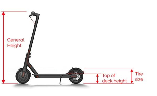 the three heights of the electric scooter described in a diagram, the general height, the tire size, and the top of the deck height