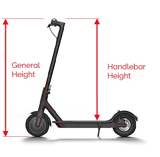 diagram showing the difference between the general height of an electric scooter and its deck to handlebar height