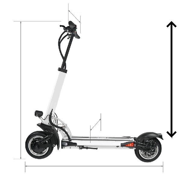 diagram of an electric scooter with many arrows pointing out its dimensions with the biggest arrow pointing the deck to handlebar height