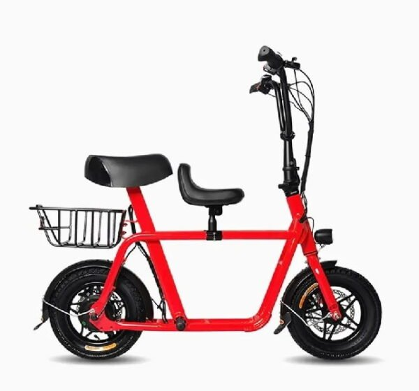 side view of a red Mobot FIIDO Q1 electric scooter with black details and a seat and a basket installed on the rear