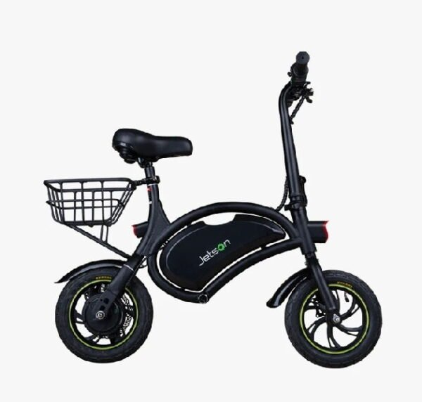 side view of a black Jetson Bolt electric scooter with a seat and a basket installed on the rear