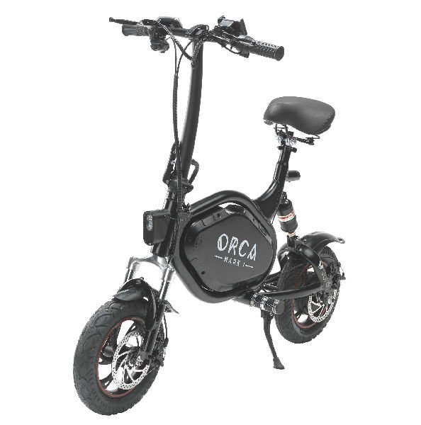 front diagonal view of a black Voro Orca Mark 1 electric scooter with a seat leaning on its stand