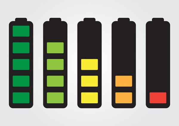 5 battery life levels, from fully charged to empty
