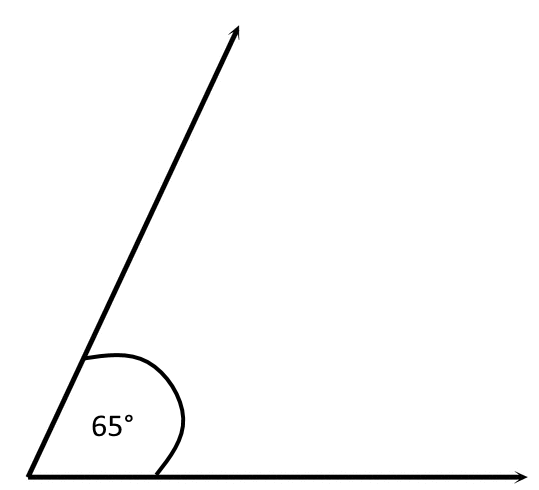 visual representation of the steepness of a 65 degree angle