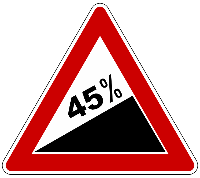 sign for a steep climbing angle