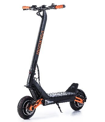 front-diagonal view of a black Inokim OXO electric scooter with orange details on a white background