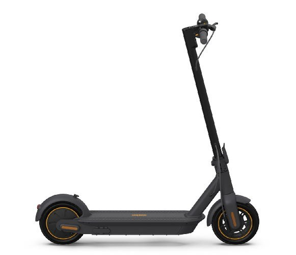 side view of a black Ninebot ES2 electric scooter with orange details on a white background