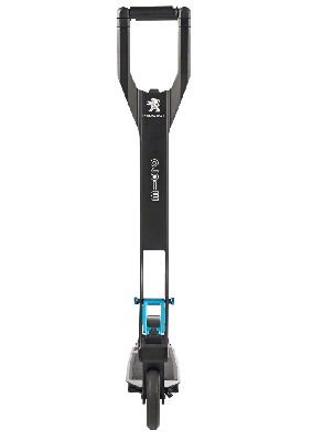 frontal view of a black Micro Peugeot e-kick X2 electric scooter with blue elements