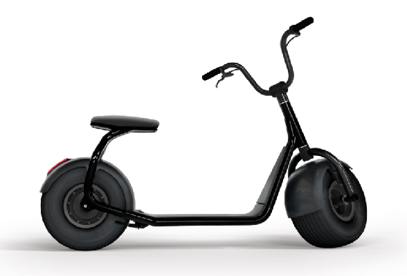 side view of a black Scrooser electric scooter with big wheels and a seat