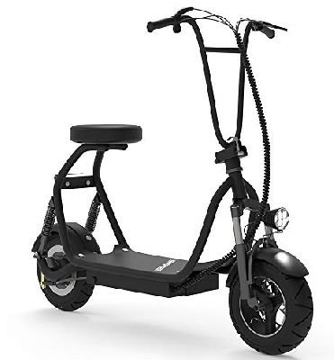 front diagonal view of a black Mua SKRT electric scooter with a seat