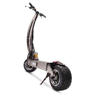 rear diagonal view of a black WePed GT electric scooter leaning on its stand