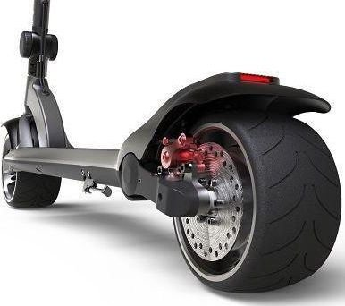 rear diagonal view of a black Mercane Widewheel electric scooter with red details