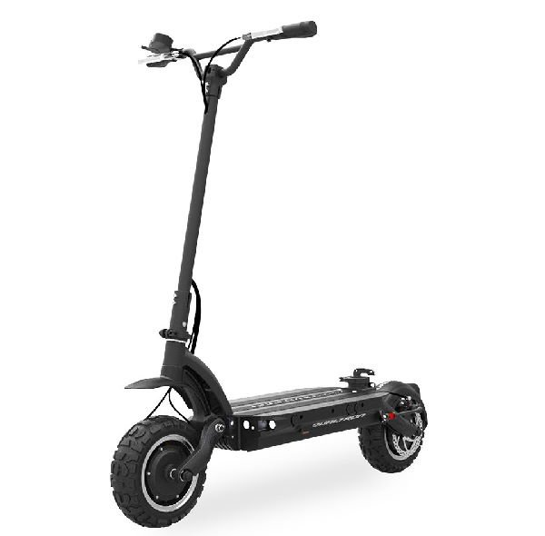 front diagonal view of a black Dualtron Ultra electric scooter