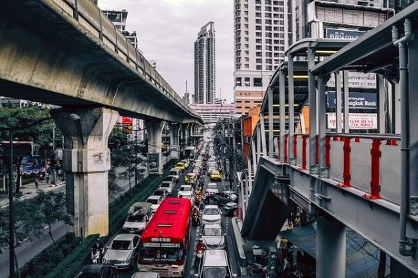 traffic jam in a busy city street