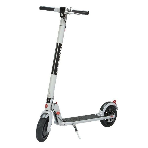 front diagonal view of a white GoTrax XR Ultra electric scooter with black deck and wheels leaning on its stand