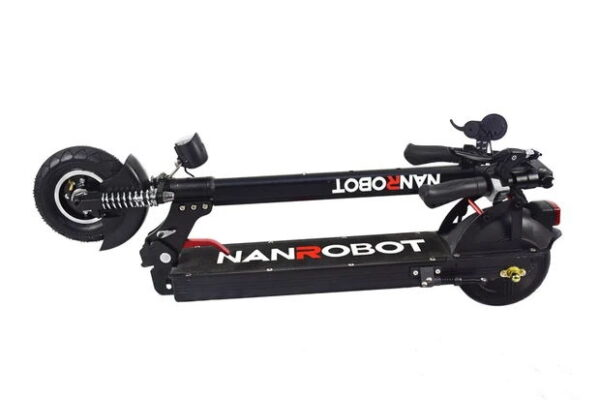 side view of a black folded NanRobot RS7 with red details and standard NanRobot logo on deck