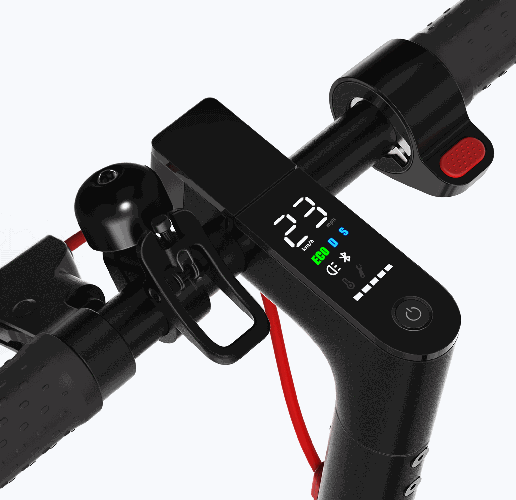 screen and controls in the middle of the handlebar of an electric scooter