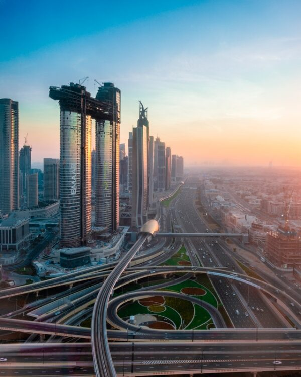 aerial view of highway and skyscrapers in Dubai