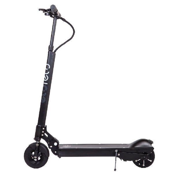 side view of a black EcoReco XS electric scooter leaning on its stand