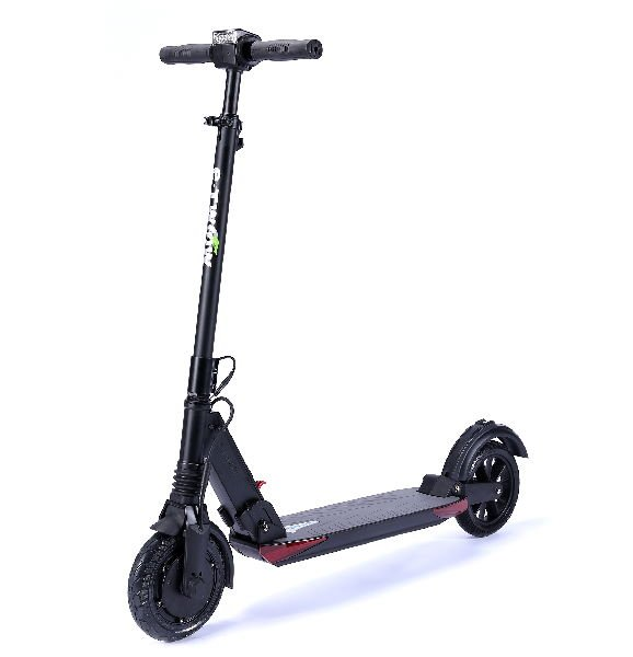 front diagonal view of a black E-TWOW GT electric scooter with red details