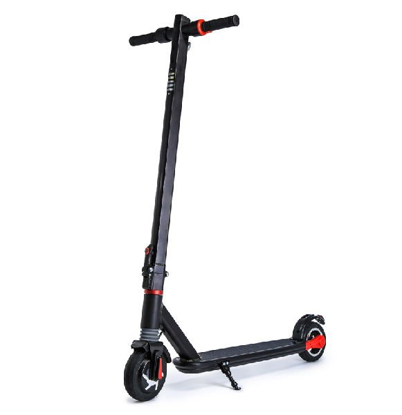 front diagonal view of a black FLJ i11 electric scooter with red details leaning on its stand
