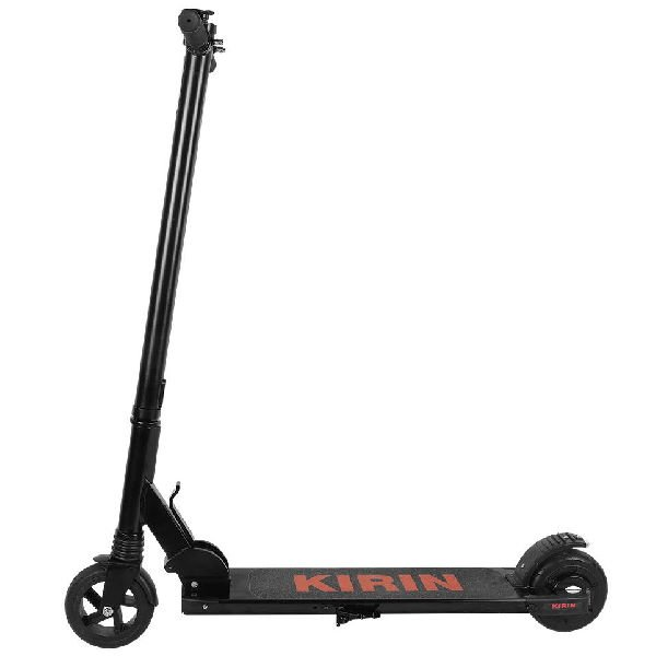 side view of a black Kugoo Kirin S2 Mini electric scooter with orange logo on deck