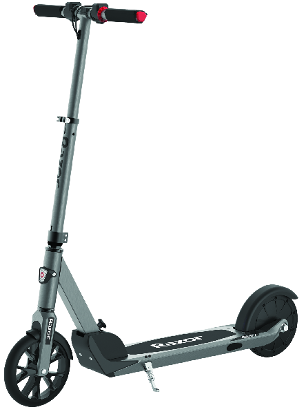 blue-grey Razor EPrime with solid wheels leaning on its stand