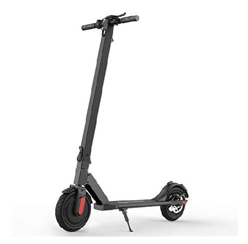 front diagonal view of a black Megawheels S5 electric scooter with red details leaning on its stand