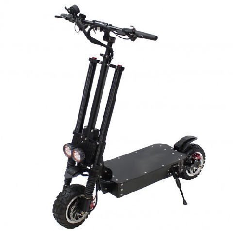 front diagonal view of a black NanRobot RS11 electric scooter leaning on its stand on a white background