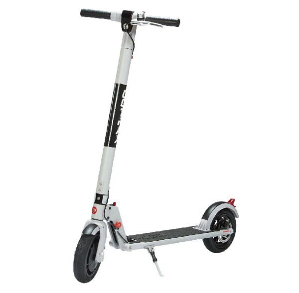 front diagonal view of a white GoTrax XR Ultra electric scooter with black details on a white background