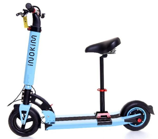 side view of a light blue Inokim Light electric scooter with black details with a seat