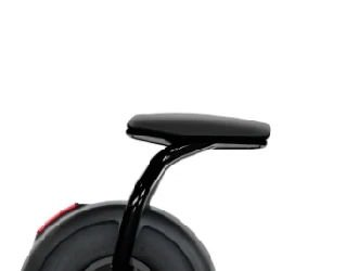 seat of an electric scooter over its rear wheel
