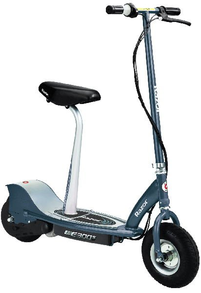 front diagonal view of a blue Razor E300S electric scooter with black details and a seat