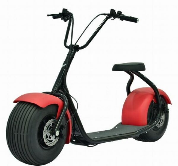 front diagonal view of a SEEV-800 electric scooterwith shiny red fenders and a seat