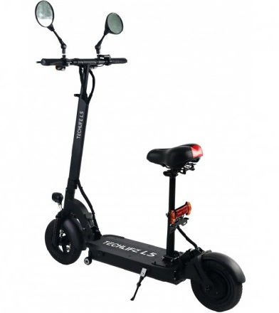 rear diagonal view of a black Techlife L5T electric scooter with red details and two mirrors leaning on its stand