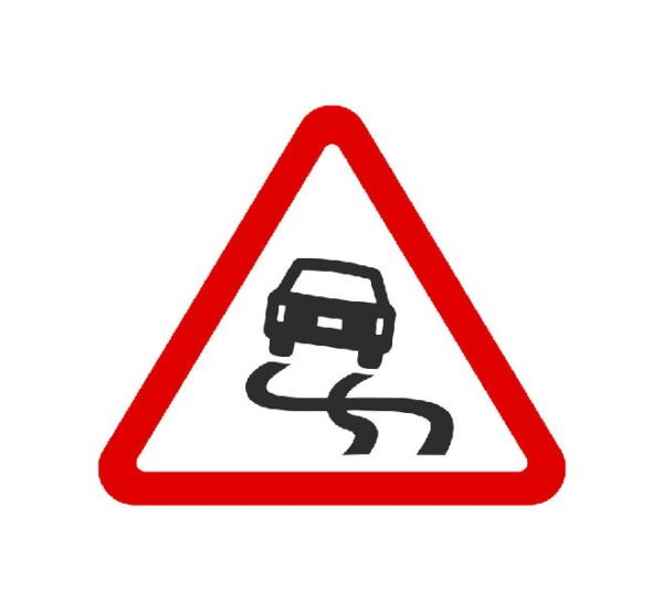 sign for slippery road