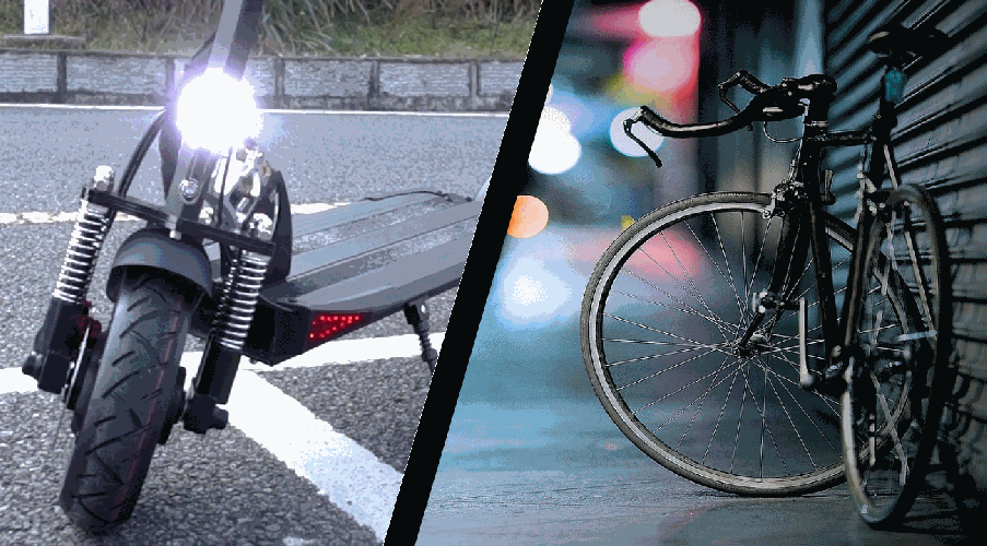 graphic representation of electric scooter vs bicycle