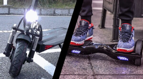 head to head representation of an electric scooter and a hoverboard