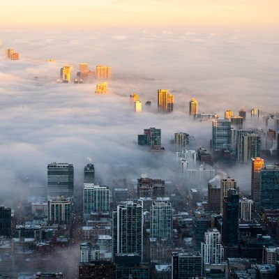 aerial view of pollution in a big city