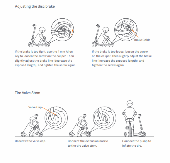brake adjustment page from the manual of the Xiaomi M365 Pro