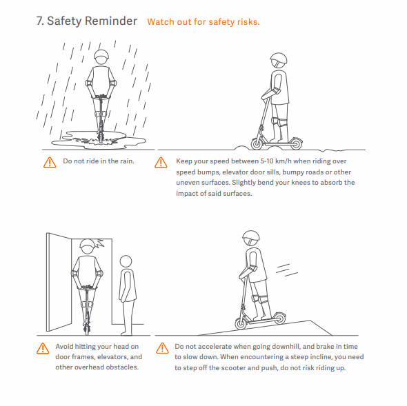Xiaomi M365 Pro user manual page with safety tips