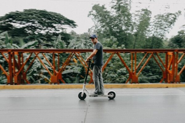 person riding for a long distance on an electric scooter