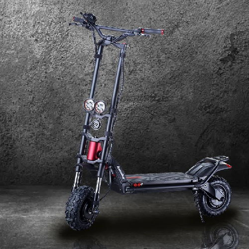 side view of a black Kaabo Wolf Warrior electric scooter with red details leaning on its stand in a dark room