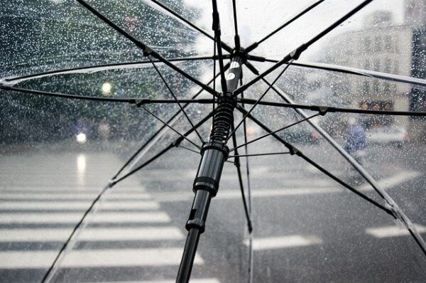 rainy day viewed from under an umbrella