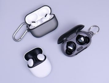 three different bluetooth earbud sets for while riding an electric scooter